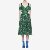 Women Green Floral Print Sleeveless Ruffle Spaghetti Strap Slim Pleated Chiffon Midi Dress