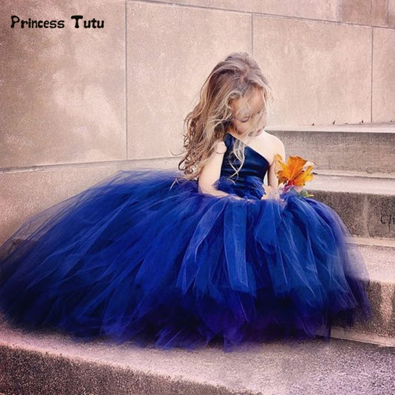 Sequins One Shoulder Princess Blue Girl Dress Sleeveless Kids Ball Gown Wedding Dresses For Girls Party Tulle Tutu Dress Custom 2017 new sequins kids girls lace tulle bowknot tutu dress sleeveless princess girl party dresses children clothes 2 7 years