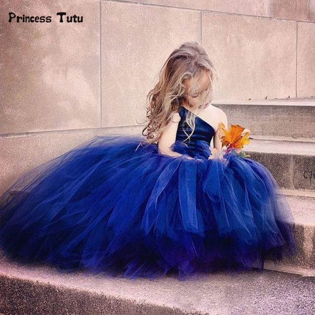 ff0109d52b Sequins One Shoulder Princess Blue Girl Dress Sleeveless Kids Ball Gown  Wedding Dresses For Girls Party Tulle Tutu Dress Custom