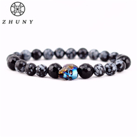 ZHUNY Luxury Austrian Swarovski Crystals Skull Beads Bracelet Natural Tiger Eye Stone Obsidian Onyx Bracelets Men