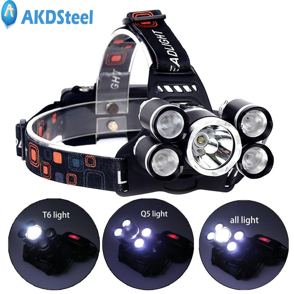 AKDSteel 5 LED Headlamp 4 Modes T6+4XPE LED Head Light Waterproof 18650 Rechargeable Head Flashlight Torch for Outdoor ZK30 lumiparty 4000lm headlight cree t6 led head lamp headlamp linterna torch led flashlights biking fishing torch for 18650 battery