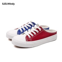 Spring/summer 2019 new loafers go with all colors canvas shoes womens flat/half slippers