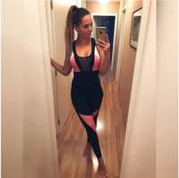 Sports Suit Female Large Size Gym Jumpsuit Women Workout Rompers Backless Mesh One Piece Outfits Overalls Yoga Sets