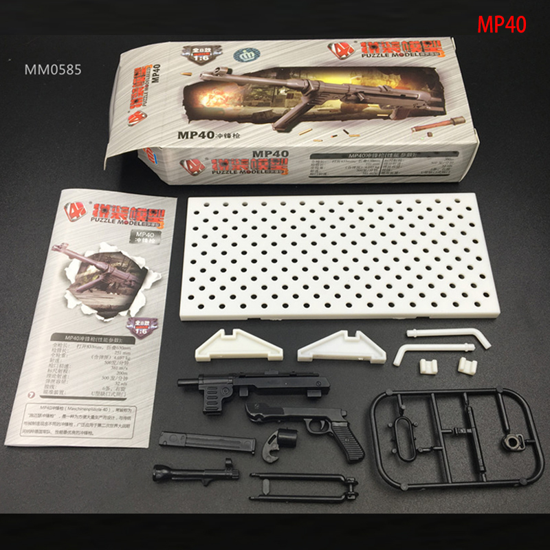 1/6 Scale Soldier 4D Assembly Rifle <font><b>MP40</b></font> Submachine <font><b>Gun</b></font> Model Send Rack Fit 12 Inch Soldier Action Figure Dolls Accessories image