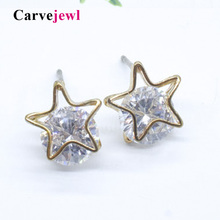 Carvejewl stud earrings small star cubic zirconia for women jewelry girl gift new fashion korean bijoux