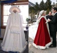 Искусственный мех Свадебный жакет для невесты накидки плащ обертывания с капюшоном невесты красный зимнее пальто утепленная одежда chaqueta