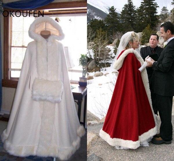 Fausse fourrure mariage vestes mariée Capes cape enveloppes capuche mariée rouge hiver manteau garder au chaud chaqueta mujer accessoires de mariage capa