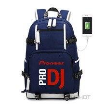 Usb 충전 노트북 가방과 청소년을위한 wishot 개척자 dj 프로 배낭 어깨 여행 학교 가방