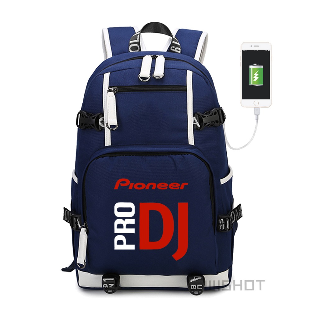 Wishot  Pioneer Dj Pro Backpack Shoulder Travel School Bag  For Teenagers  With Usb Charging  Laptop Bags