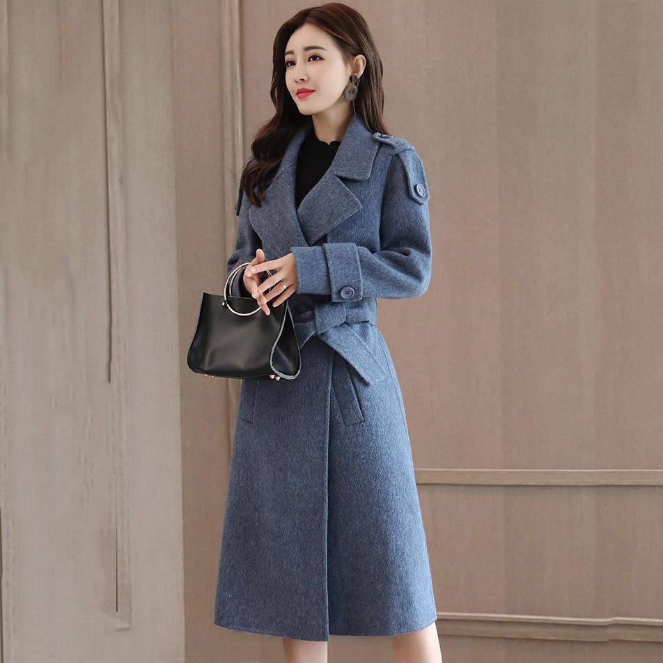 Laine Manteau Bureau Poches jiaotangse Ceinture Taille O727 Femelle Outwear La Femmes Simple Bleu Cassic Revers Travail Plus Hiver Mode Long Automne Z1zawWnOqx