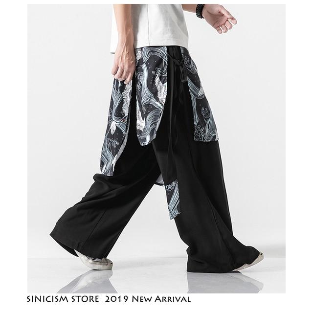 Sinicism Store Patchwork Flower Cotton Pants Mens Summer 2020 Chinese Style Loose Pants Male Wide Leg Pants Baggy Pants 12