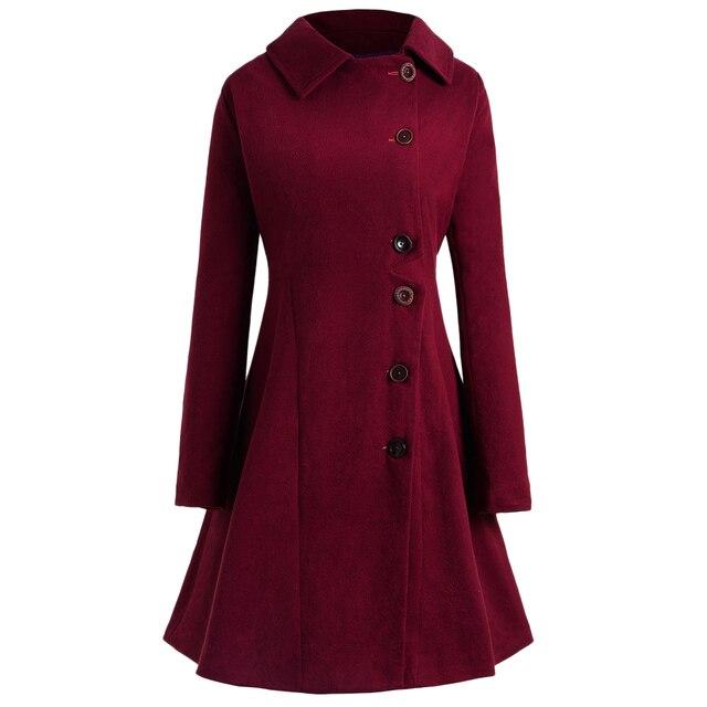 Joineles бренд плюс размер 4XL длинное пальто на пуговицах осень-зима однотонный хлопок винтажная Женская шерстяная Верхняя одежда Повседневная Женская одежда Смешанная