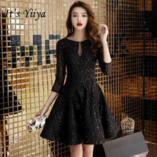 Its YiiYa O-neck Cocktail Dresses Little Black Bling Half Sleeve Short Formal Elegant Zipper back Party Ball Gowns E009
