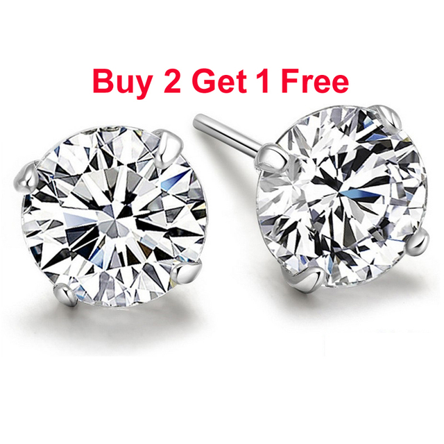 affb04d68607 Aretes tipo botón de plata esterlina genuina 925 pendientes de diamante  púrpura simulado CZ de cristal