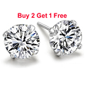 Real 925 Pure Sterling Silver Purple Simulated Diamond CZ Crystal Big Round Stud Earrings For Women Girls Men Fashion Jewelry
