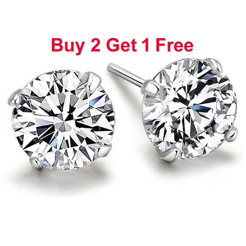 Real 925 Pure Sterling Silver Purple White Champagne Black CZ Crystal Big Round Stud Earrings For Women Girl Men Fashion Jewelry