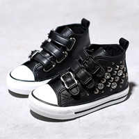 2018 Spring Autumn Baby Girl's Princess Crystals High Top Casual Shoes Buckle PU Leather Children's Sports Studded Shoes