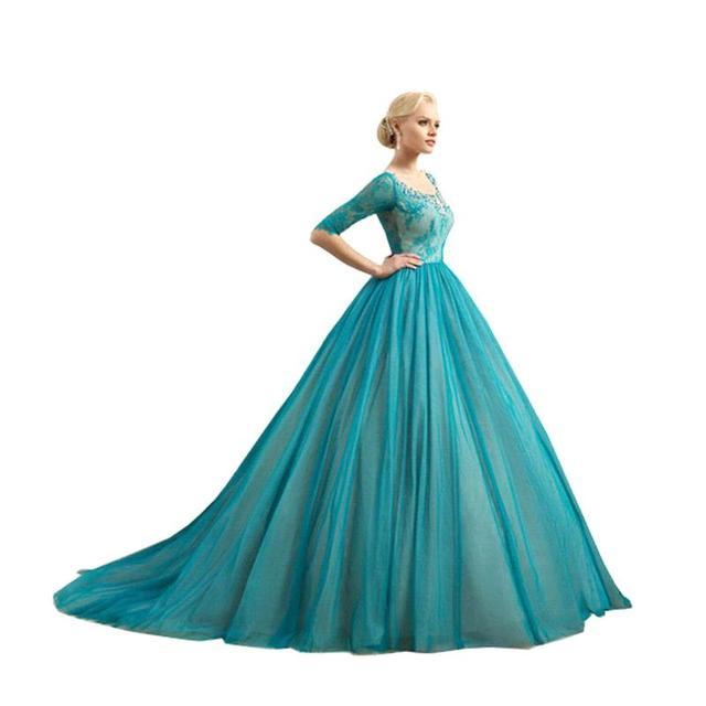 Trouwjurk Kleur.Nieuwe Mode Kant Baljurk Blauw Vintage Trouwjurken 2016 Custom Met
