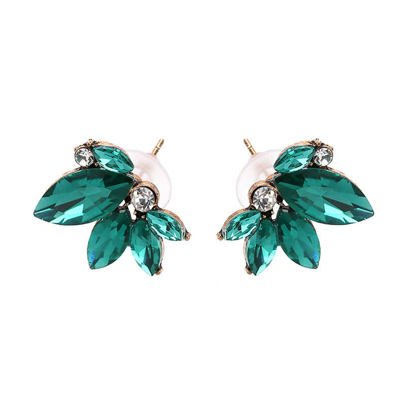 JURAN 8 Colors Cute Crystal Stud Earrings For Women Blue Red Trendy Brincos Green White Plant Charm Acrylic Fashion Jewelry
