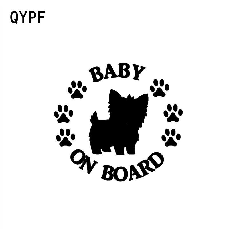 QYPF 10.2CM*9.4CM BABY ON BOARD Terrier Dog Vinyl Motorcycle Car Sticker Decal Black Sliver C14-0223