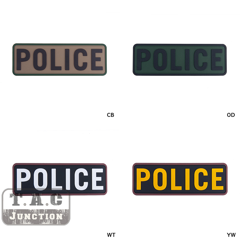 Tactical POLICE PVC Patches For Military Armband Badge For BDU Cloth Backpack Cap