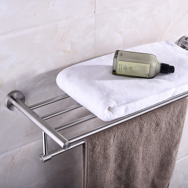 Wall-mounted Towel Rack Brushed Stainless Steel Bathroom Bath Towel Holder Rack Wall Shelf Handy Storage Organization Product & Online Shop Wall-mounted Towel Rack Brushed Stainless Steel Bathroom ...