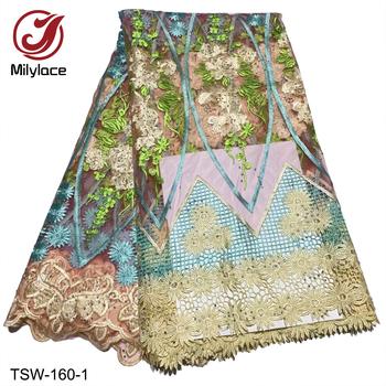 French Net Lace Fabric with Rhinestones Beautiful African Embroidery Tulle Lace Nigerian Guipure Cord Lace Wedding TSW-160