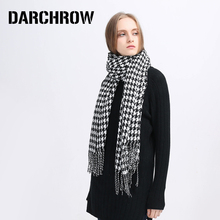 DARCHROW White Black Plaid Tassel Scarf Warm Cozy Thicken Scarf Blanket Lady Women Checked Tartan Scarf Wraps Shawl