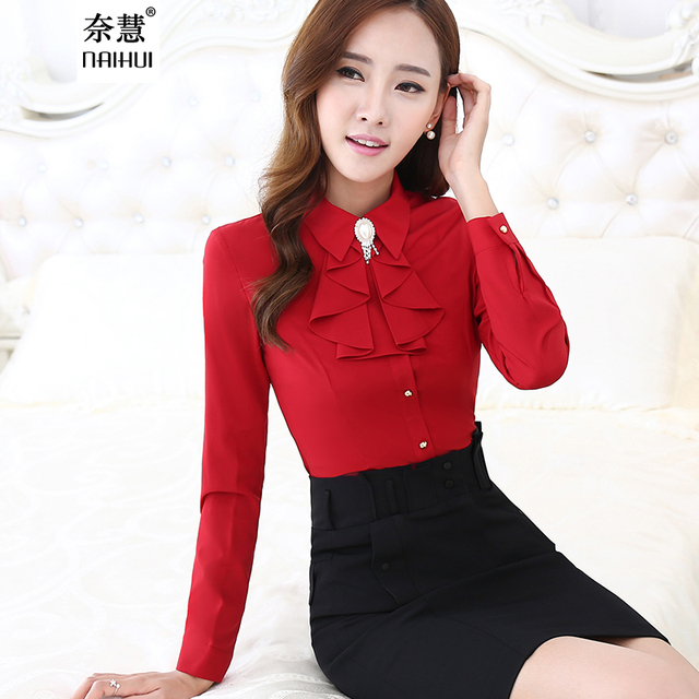 0bda2bb92c72c7 Women Ruffled Casual Blouse Female Long Sleeve Elegant Red Slim Fit Shirt  Ladies Tops Office Lady