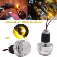 2pcs Set Universal Motorcycle 22mm Handlebar Turn Signal Light Grip Bar Plug Strobe Side Marker End