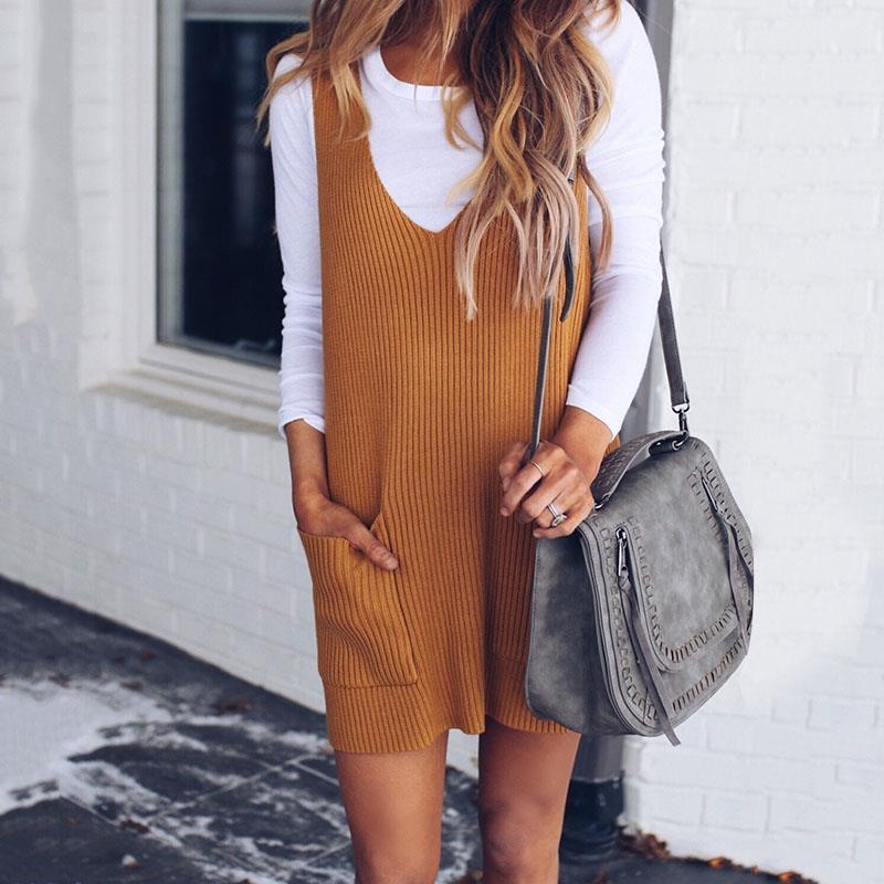 2018 New Fashion Spring Loose Sleeveless V Neck Knitted Vest Dress Women Sweater Dress WS6684V