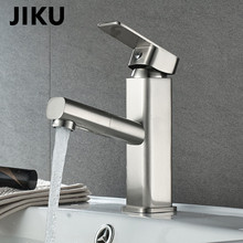JIKU Basin Faucets A Multiple-layered Handle Square Designer Brass Tap Bathroom Faucet Chrome Modern Waterfall