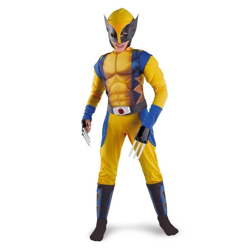 Promotion Boys X-man Logan Origins Marvel Superhero Halloween Kostymer Kids Carnival Party Performance Cosplay Kläder