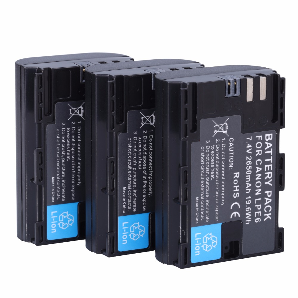 3Pcs Full coded LP E6 LPE6 2650mAh Battery Batteria For Canon 5D Mark II III and