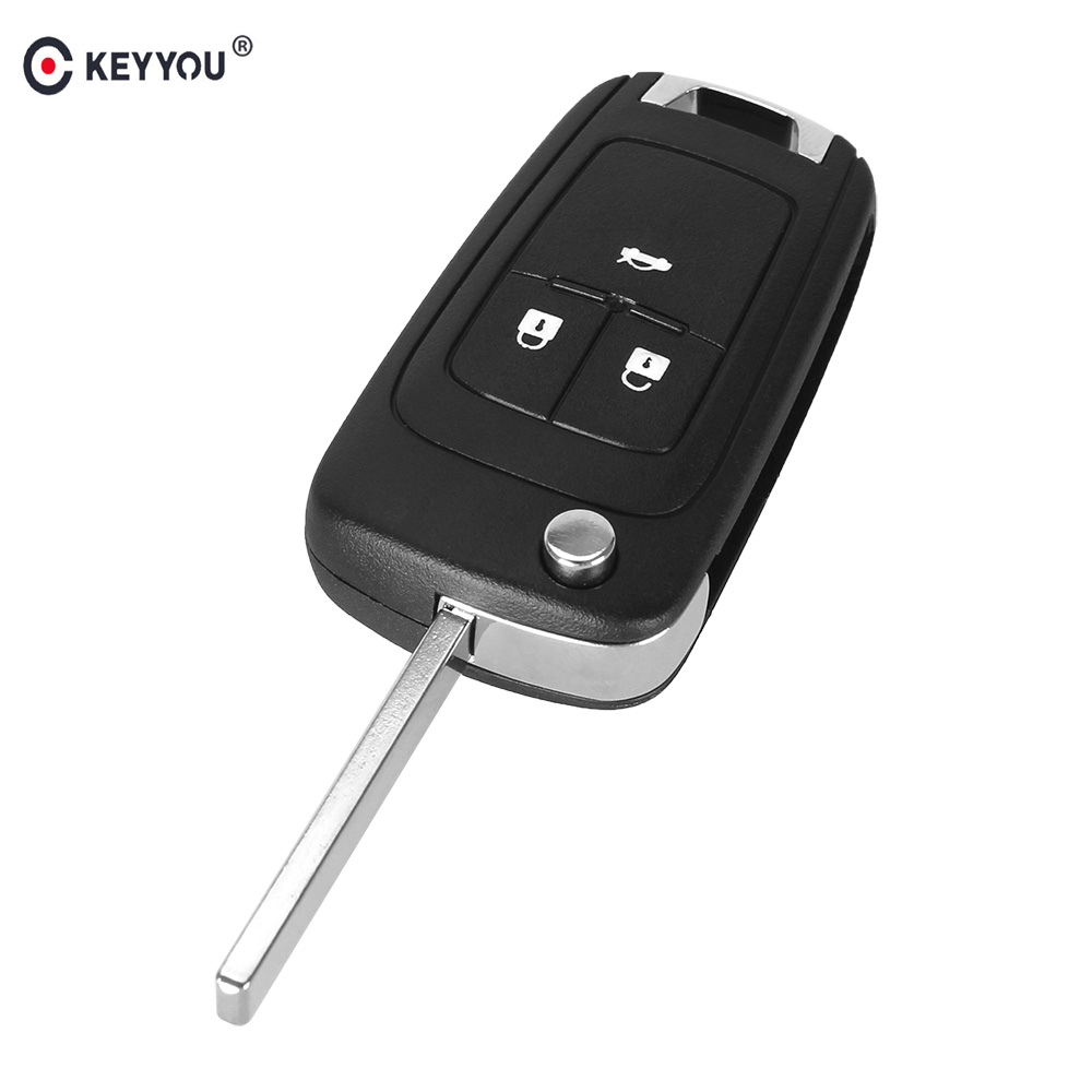 KEYYOU 3 Button Flip Folding Car Key Shell For Chevrolet Cruze Remote Control Key Case Cover Keyless Fob Uncut HU100 Blade(China)