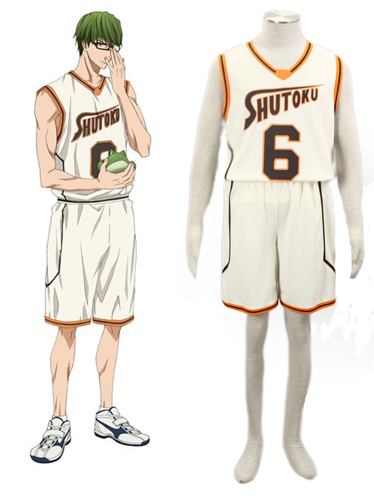 Free Shipping Kuroko's Basketball Shintaro Midorima Shutoku High School Basketball Uniform  Yellow  Number 6 Cosplay Costume