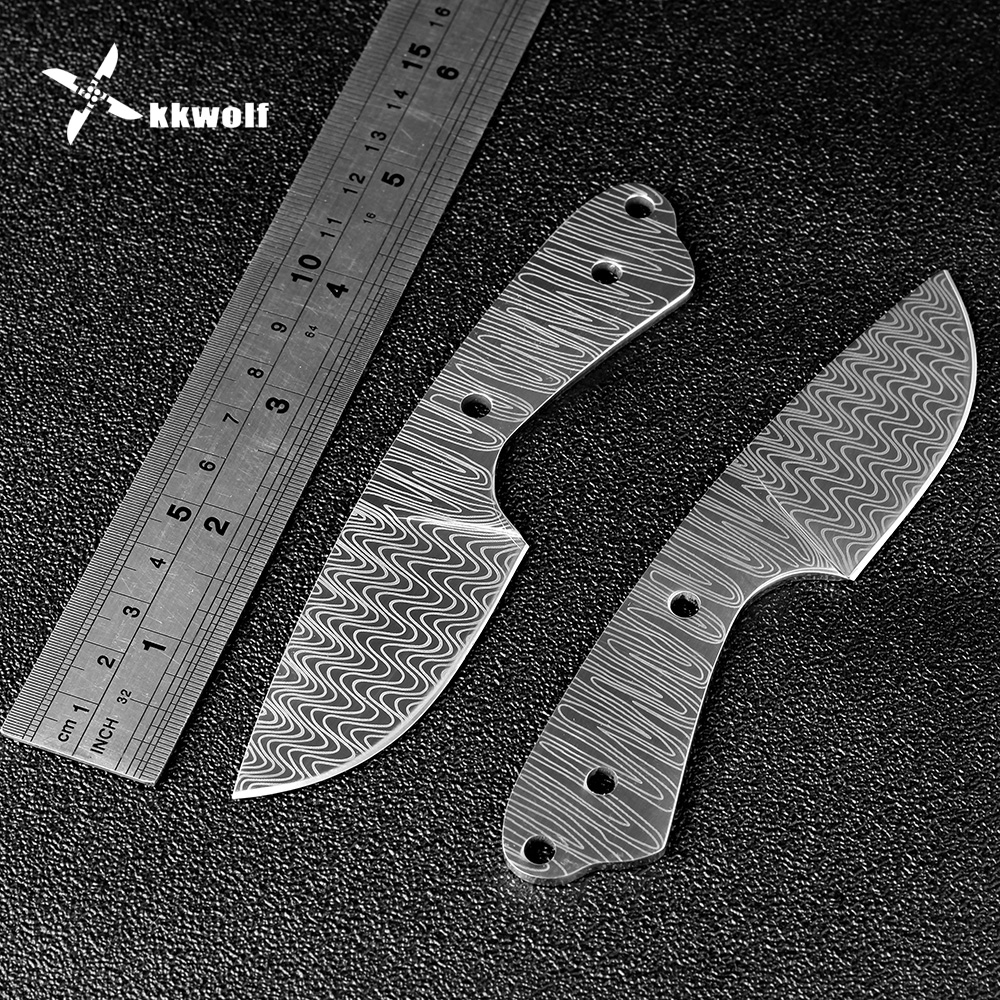 DIY Damascus pattern knife blade Sharp Fixed blade Hunting Knife Blanks 440c steel diy manual survival camping knife blade 2015 sale knife blade blanks manufacturers selling fu tea lapsang black authentic fujian wuyishan wholesale specialty paper box
