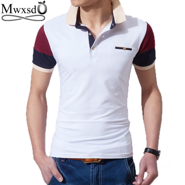 b8174bac3b985 Mwxsd brand summer men slim fit polo shirts men cotton polo shirt mens polo  shirt brands camisa polo High quality