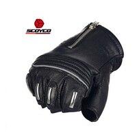 2018 Summer New SCOYCO Half Finger Motorcycle Racing Gloves MC25 goat skin Motorbike Riding Glove with Reflective strip Non slip