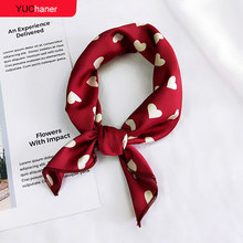 Hair Scarf Tie Animal Print Red Love Satin 50cm Small/Square/Silk/Neck/Ring/Scarf Winter Head Scarf For women Neckerchief 2018(China)