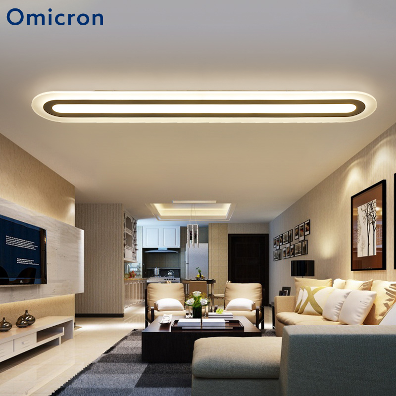 Us 56 57 28 Off Omicron Modern Long Strip Led Ceiling Lights Acrylic White Minimalism Lamp For Office Bedroom Study Room Lighting Fixture In