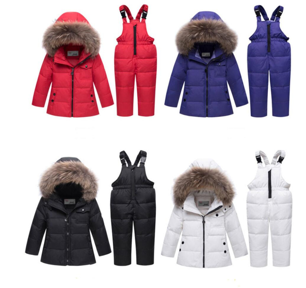 цена на Kids Snow parkas real Fur hooded boy baby girl duck down jacket sets warm kids snow suit children coat snowsuit winter clothes