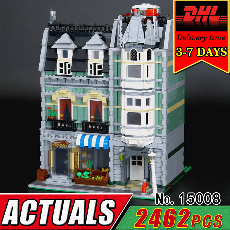 DHL Lepin 15008 City Street Green Grocer 2462Pcs Building Blocks Brick Model Kit Compatible 10185 Educatinoal Toys for Children lepin 15008 new city street green grocer model building blocks bricks toy for child boy gift compatitive funny kit 10185 2462pcs