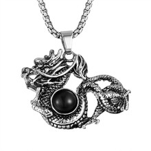 MCSAYS Hiphop Jewelry Dragon Pendant Box Chain Special Design Charm Big Black Crystal Necklace Mens Fashion Accessories 4HP