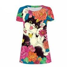 de257143a05e NoisyDesigns Super lindo Animal impreso mujeres Vestido 3D Floral gato cara lápiz  Vestido femenino Casual verano