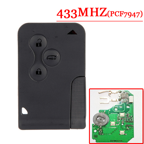Free Shipping  (5pcs/lot) 3 button Smart Car for R enault  M egane   with PCf7947 chip  and Emergency Key 433MHZ