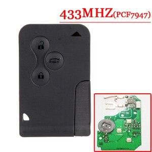 Image 1 - Freies Verschiffen (5 teile/los) 3 taste Smart Auto für R enault M egane mit PCf7947 chip und Notfall Schlüssel 433 mhz
