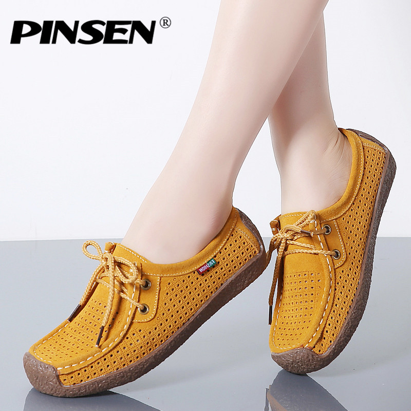 PINSEN 2018 Summer Women Loafers Leather Suede Flats Lace-up Boat Shoes Casual Fringe Sneakers Flat Shoes Woman Slipony Creepers