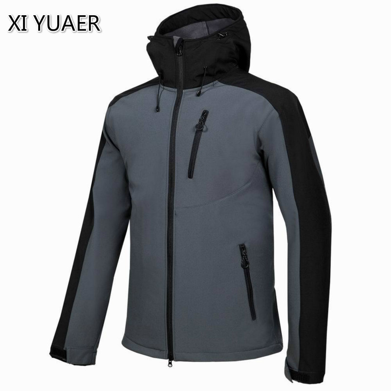 New Softshell Jacket Men Brand Waterproof Rain Coat Outdoor Hiking Clothing Male Windproof Soft Shell Fleece Jackets 7003 cube softshell jacket blackline