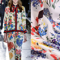 16mm100% mulberry silk fabric silkcloth 2018 new digital printing high-end dress shirt cloth wholesale